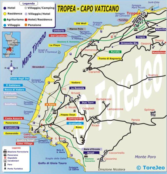 Reggio Calabria Cartina Geografica.Cartina Di Capo Vaticano Cartina Stradale Del Comune Di Ricadi